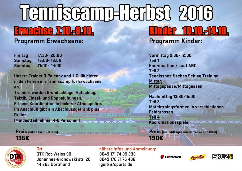 Tenniscamp Herbst 2016